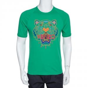 Kenzo Green Cotton Tiger Print Crew Neck T Shirt XS