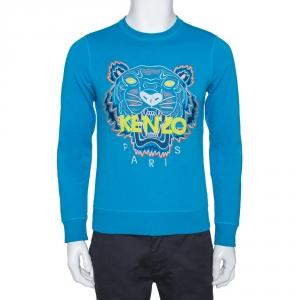 Kenzo Blue Tiger Embroidered Cotton Sweatshirt S