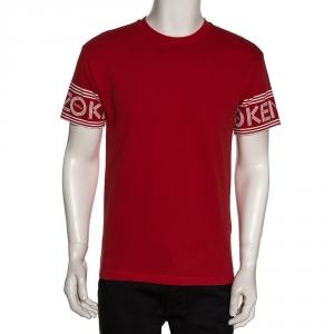 Kenzo Red Cotton Sleeve Logo Detail Crew Neck T Shirt S