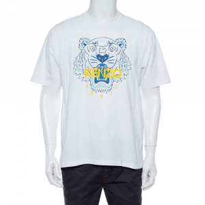 Kenzo White Cotton Jersey Tiger Print Crew Neck T-Shirt S