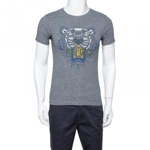 Kenzo Grey Cotton Tiger Print Crewneck T Shirt XS - used