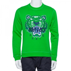 Kenzo Green Tiger Embroidered Cotton Crewneck Sweatshirt S
