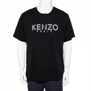 Kenzo Black Logo Printed Cotton Crewneck T-Shirt XL