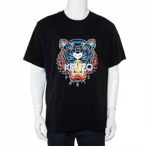 Kenzo Black Cotton Tiger Logo printed Crewneck T-Shirt XXL