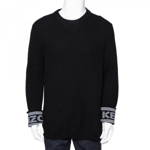 Kenzo Black Knit Logo Cuff Rib Sweater M - used
