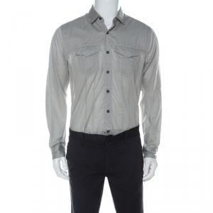 Lanvin Grey Cotton Pinstripe Knit Chest Pocket Full Sleeve Shirt L