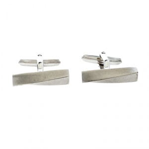 Lanvin Twisted Silver Tone Bar Cufflinks