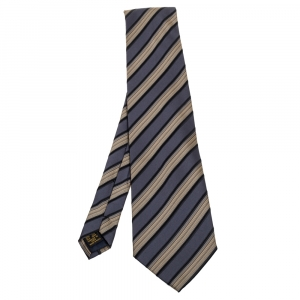 Lanvin Vintage Diagonal Striped Silk Tie