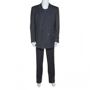 Lanvin Grey Wool Double Breasted Tailored Suit XL