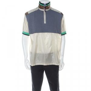 Lanvin Multicolor Cotton and Nylon Colorblock Zip Front T Shirt L