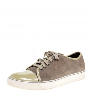 Lanvin Olive Suede and Patent Leather DDB1 Low Top Sneakers Size 42