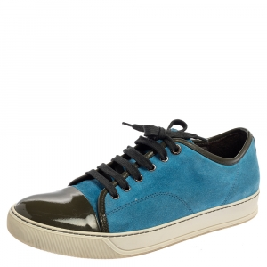 Lanvin Light Blue/Green Suede and Patent Leather Low Top Sneakers Size 42