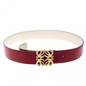 Loewe Red Leather Anagram Belt 95CM