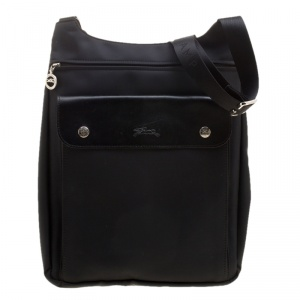Longchamp Black Nylon Messenger Bag
