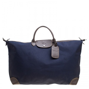 Longchamp Dark Blue/Brown Nylon Le Pliage Weekender