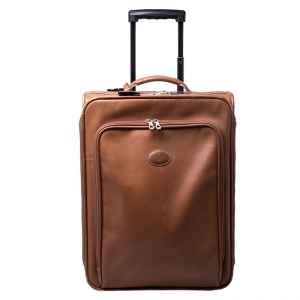 Longchamp Brown Leather Small Wheeled Luggage