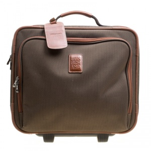 Longchamp Military Green/Brown Canvas Boxford Carry on Luggage