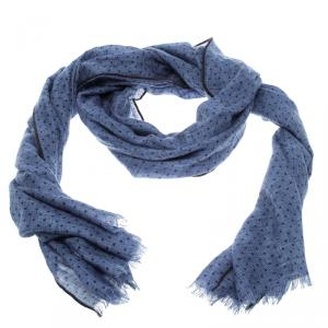 Loro Piana Blue Cashmere Silk Herringbone Pattern Dotted Scarf