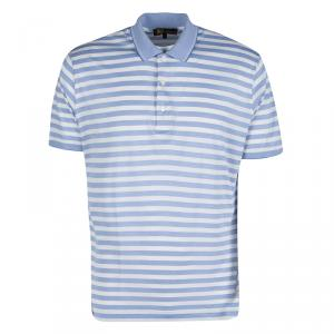 Loro Piana Blue and White Striped Polo T-Shirt L