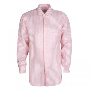 Loro Piana Pink and White Striped Linen Button Front Shirt L