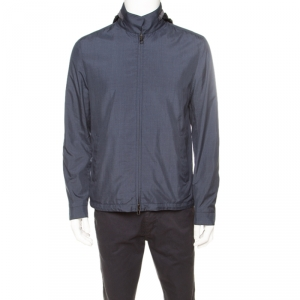 Loro Piana Midnight Blue Silk Rain System Hooded Jacket M