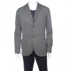 Loro Piana Sage Green Cashmere Silk Piqué Knit Sweater Jacket XL