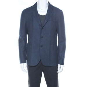 Loro Piana Blue Checked Cashmere Regular Fit Blazer L