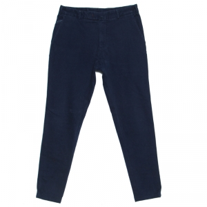 Loro Piana Navy Blue Stretch Twill Cotton Tailored Trousers M