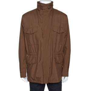Loro Piana Brown Traveller Windmate Hooded Jacket XL