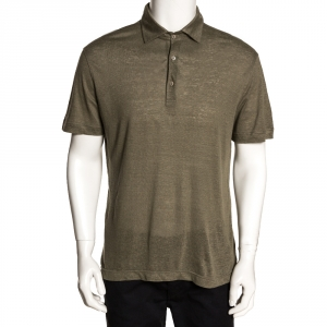 Loro Piana Sage Green Linen Knit Polo T Shirt L