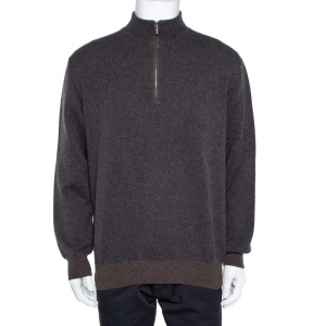 Loro Piana Brown Cashmere Roadster Pull Sweater L