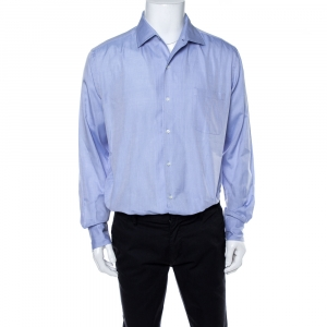 Loro Piana Blue Cotton Long Sleeve Shirt L