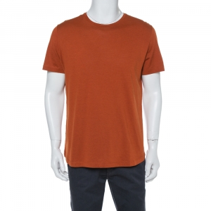 Loro Piana Rust Orange Silk Knit Crewneck T Shirt XL