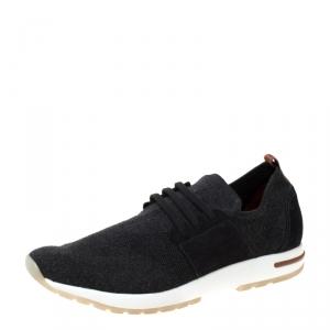 Loro Piana Grey Cotton Blend And Nubuck Slip On Sneakers Size 43