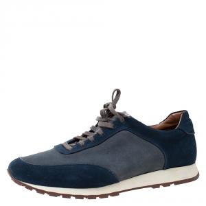 Loro Piana Blue/Grey Suede Low Top Sneakers Size 42
