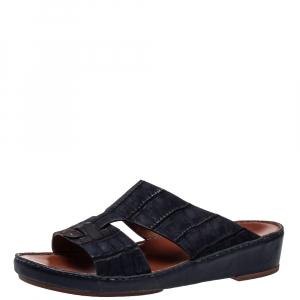 Loro Piana ( Exclusive For Dubai) Blue Leather Slip on Sandals Size 42.5