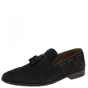 Loro Piana Navy Blue Suede Tassel Slip On Loafers Size 42.5
