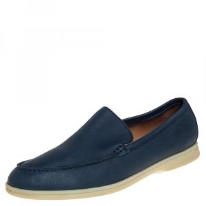 Loro Piana Blue Leather Summer Walk Slip On Loafers Size 44