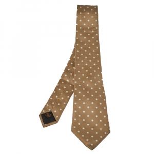 ربطة عنق لوي فيتون منقطة بنية فاتحة