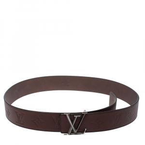 Louis Vuitton Dark Brown Monogram Leather LV Initiales Belt 90 CM