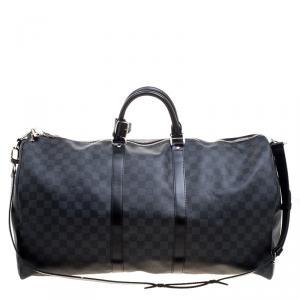 Louis Vuitton Damier Graphite Canvas Keepall Bandouliere 55