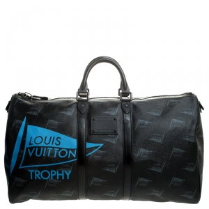 Louis Vuitton Black Coated Canvas Limited Edition 127/200 Dubai Keepall Bandouliere 55 Bag