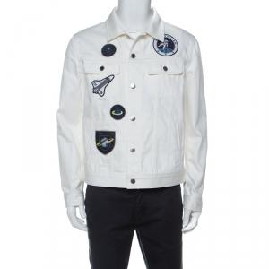 Louis Vuitton White Cotton Space Applique Denim Jacket L
