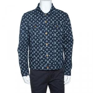 Louis Vuitton Navy Blue Monogram Print Denim Jacket L