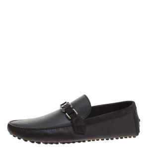 Louis Vuitton Black Leather and Suede Hockenheim Loafers Size 43.5