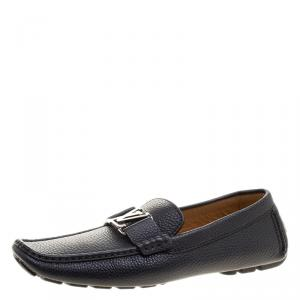 Louis Vuitton Navy Blue Leather Monte Carlo Loafers Size 41