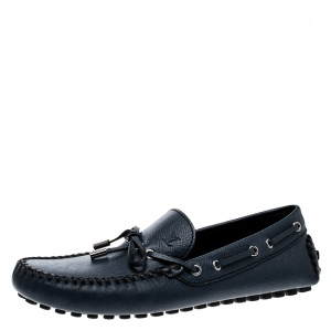 Louis Vuitton Navy Blue Leather Gloria Loafers Size 42