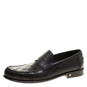 Louis Vuitton Black Damier Embossed Outline Loafers Size 41