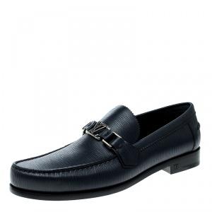 Louis Vuitton Blue Epi Leather Major Loafers Size 42.5