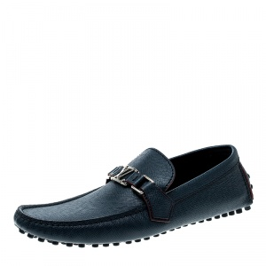 Louis Vuitton Blue Leather Hockenheim Loafers Size 42.5